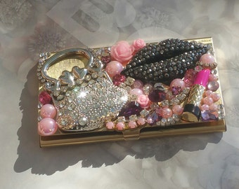 Pucker Up And Kiss/Rhinestone Business Card Holder