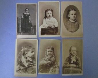 Antique Photographs CDVs children Carte de Vistes Victorian and one with Civil War Tax Stamp