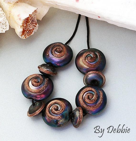 DSG (Debbie Sanders Glass) Handmade Organic Glass Lampwork Beads-Whimsy Made To Order Lentil Set
