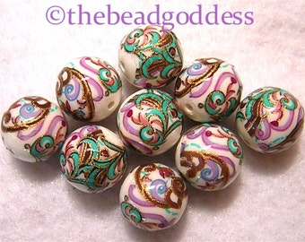 Wholesale Japanese Tensha Beads Purple, Aqua and Blue Paisley on White 12mm-9 Pieces