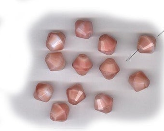 vintage glass GIVRE beads dusty pink bicone beads ONE DOZEN antique glass beads wonderful shape