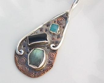 Labradorite Pendant, Tourmaline, Amazonite, Sterling Silver, Copper Jewelry, Mixed Metal