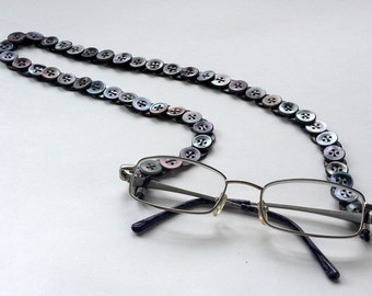Glasses Chain in Vintage Buttons - Dark Mother of Pearl
