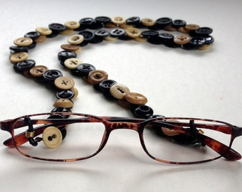 Glasses Chain in Black and Tan Vintage Buttons