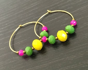 Color Block 14k Gold Plated Hoop Earrings
