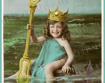 Neptune Child with Golden Crown and Huge Fork Trident Antique French Postcard Instant Download