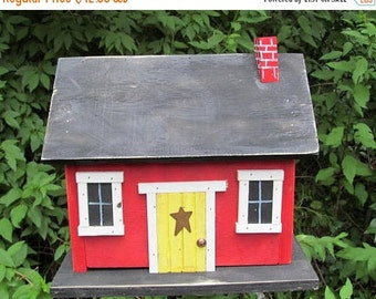 SUMMER SALE Primitive Country Cabin Red Yellow Door Hand Painted Chimney