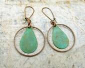 Bohemian earrings Mixed metal earrings Rustic patina earrings bohemian jewelry