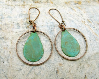 Bohemian earrings Mixed metal earrings Rustic patina earrings bohemian jewelry