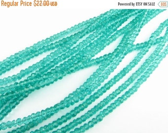 CIJ SALE Kelly Green Quartz Rondelle Micro Faceted Beads 3.5mm to 4mm (15 inch strand)