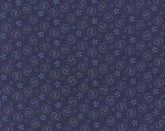 Grand Traverse Bay - Half Yard - Moda Fabric Floral Reproduction Dark Blue Navy Swirls Design Quilt Fabric Minick & Simpson 14825 16