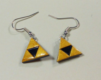 The Legend Of Zelda triforce dangly earrings Nintendo Link Zelda polymer clay surgical steel