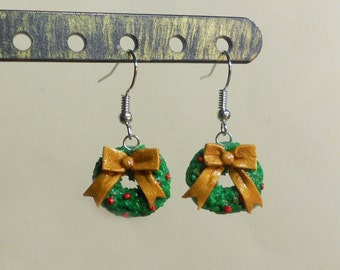 Christmas wreath earrings Christmas Holiday Miniature  holly bow polymer clay festive jewelry surgical steel dangly