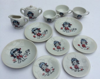 Miniature Tea Set Pretend Play Collectible Japan Blue Haired Girl with Ducks Japan