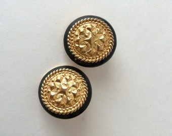 St John Designer Vintage Clip On Earring Black and Gold Classic Simple Round Earrings