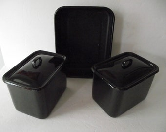 Vintage Black Enamel Refrigerator Dishes Pan Cottage Chic 1940's Kitchen Storage Office Decor