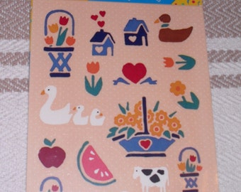 Vintage 1980's Post-it  Stickers Country Folk Art 4 Sheets  MIP