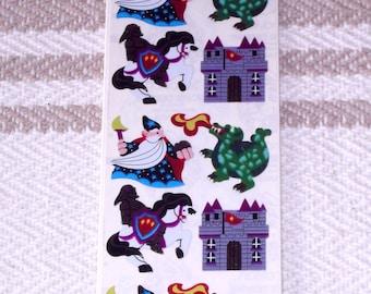 Vintage 1990's Dragon casle Wizard Knight Stickers Sandylion Mylar Unopened MIP