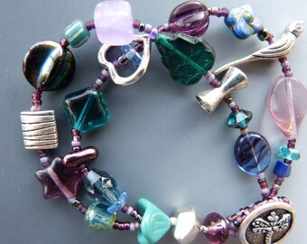 Double Row Purple and Teal Bracelet with a Dragonfly Button Clasp