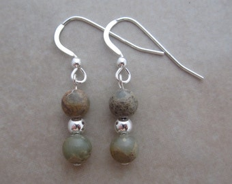 aqua terra jasper sterling silver earrings