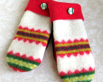 Repurposed Sweater Wool Mittens in Red, White and Green, Adult Size