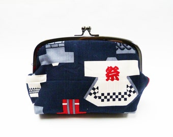 Cosmetic bag, Japanese hapi coat design, red white and blue, cotton purse