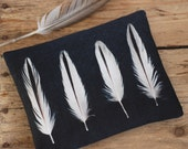 White feathers purse with zip, iPhone pouch, black and white feather zipper clutch purse, OYSTERCATCHER