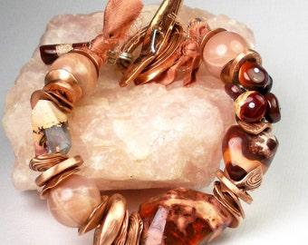 Mexican Fire Opal Bracelet, Chunky Beaded Bracelet, Copper Jewelry, Fire Opal and Sunstone, Rustic Gemstones, Southwestern Jewelry- Hidalgo