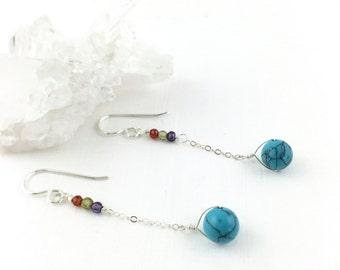 Turquoise Earrings Silver, December Stone, December Birthstone, Multi gem Earrings, Dainty Silver Earrings, Delicate Earrings