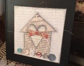 Journaling or sketching book, white pages, altered cover with paper house, heart and buttons