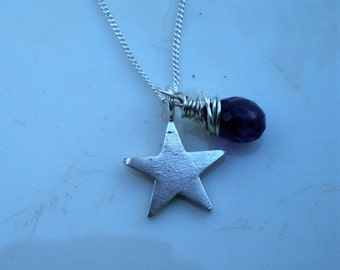 Sterling Silver Star and Amethyst Briolette Necklace
