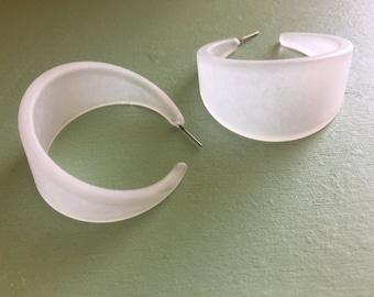 Frosted Clear Hoop Earrings | Crystal Clear Bettie Hoops | vintage lucite hoop earrings
