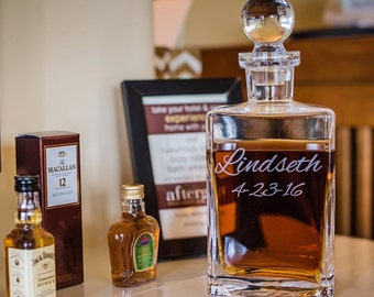 Personalized Etched Whiskey Decanter Scotch Decanter Groom Gift Groomsman Gift