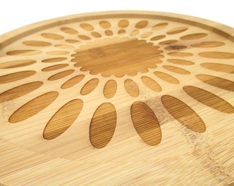 Wooden Engraved Lazy Susan - Dotted Circle Graphic Design - Bamboo Wood Turntable