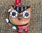 Small owl folk art Christmas ornament Ready to ship in red and green