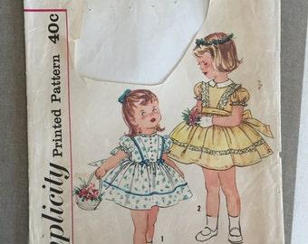 "Toddler's 1950s Simplicity Pattern #3374 Sz 1 Bust 20"" - NC - Vintage Simplicity / 50s Simplicity / 50s / Playsuit / Toddler Pattern"