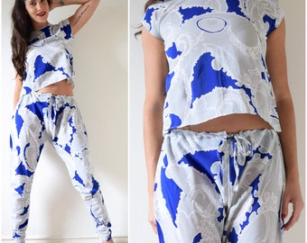 Vintage 80s 90s Tapered Harem Pants and Matching Blouse