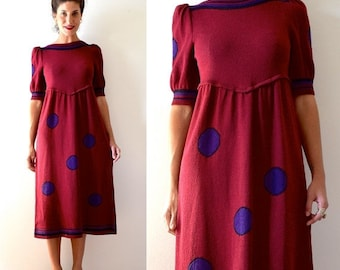 FALL SALE / 20% off Vintage 70s 80s Adolfo Cranberry Knit Polka Dot Shirt Waist Dress (size medium, large)