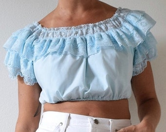 FALL SALE / 20% off Vintage 60s 70s Baby Blue Ruffled Mexican Crop Top (size small, medium)