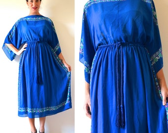 Vintage 70s Royal Blue Floral Handkerchief Dress