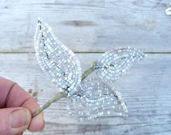 Vintage French glass beadwork /white  beaded branches leaf