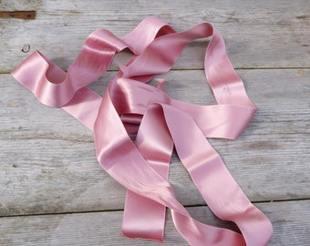 Vintage  pink sateen ribbons / 2 pieces