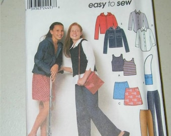 Simplicity Girls Skirt Pants Tank Shirt Hoodie Pattern 9461 Size 7 - 16 12645