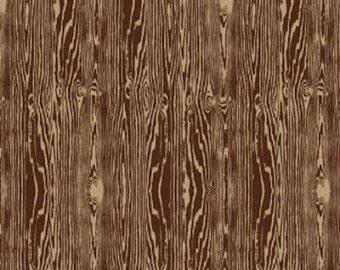 Joel Dewberry Fabric, Aviary 2, Woodgrain, Bark Brown - HALF YARD