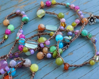 Blossoms crocheted necklace or wrap bracelet,  natural earthy crocheted jewelry