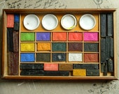 "Antique French Artist PAINT BOX  ""A.B."" - Watercolor Wooden Box Ainé Bourgeois. Lovely paint blocks"
