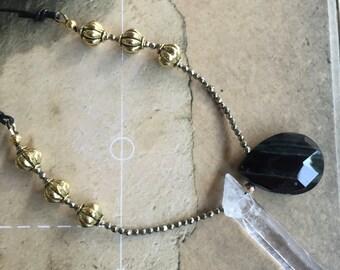 crystal necklace yoga style boho jewelry black onyx pyrite brass leather