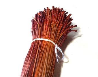Dyed Pine Needles Two Color Orange Mix Pine Needle Basketry Coiling Fiber 4 OZ Bundle Long Leaf Pine Basketmakers Pine Needle Basket Supply