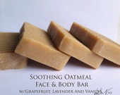 Soothing Facial Bar With Lavender Grapefruit And Vanilla Essential Oils Organic With Oatmeal, Goat Milk, and Honey