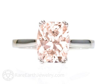 Platinum Cushion Morganite Ring Double Prong Solitaire Morganite Engagement Ring Wedding Ring